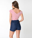 Unique Vintage Navy Blue Nautical High Waist Sandy Shorts