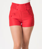 Unique Vintage Red Nautical High Waist Sandy Shorts