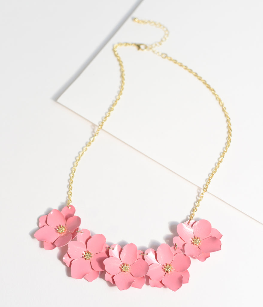 Pink Metal Flower Necklace