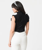 Unique Vintage Black Stretch Ruffle Astor Top