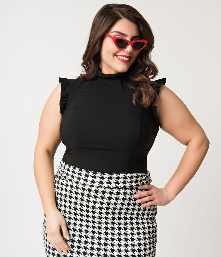 Unique Vintage Plus Size Black Stretch Ruffle Astor Top