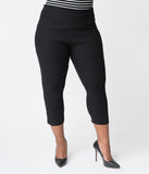 Unique Vintage Plus Size Black High Waist Rachelle Capri Pants