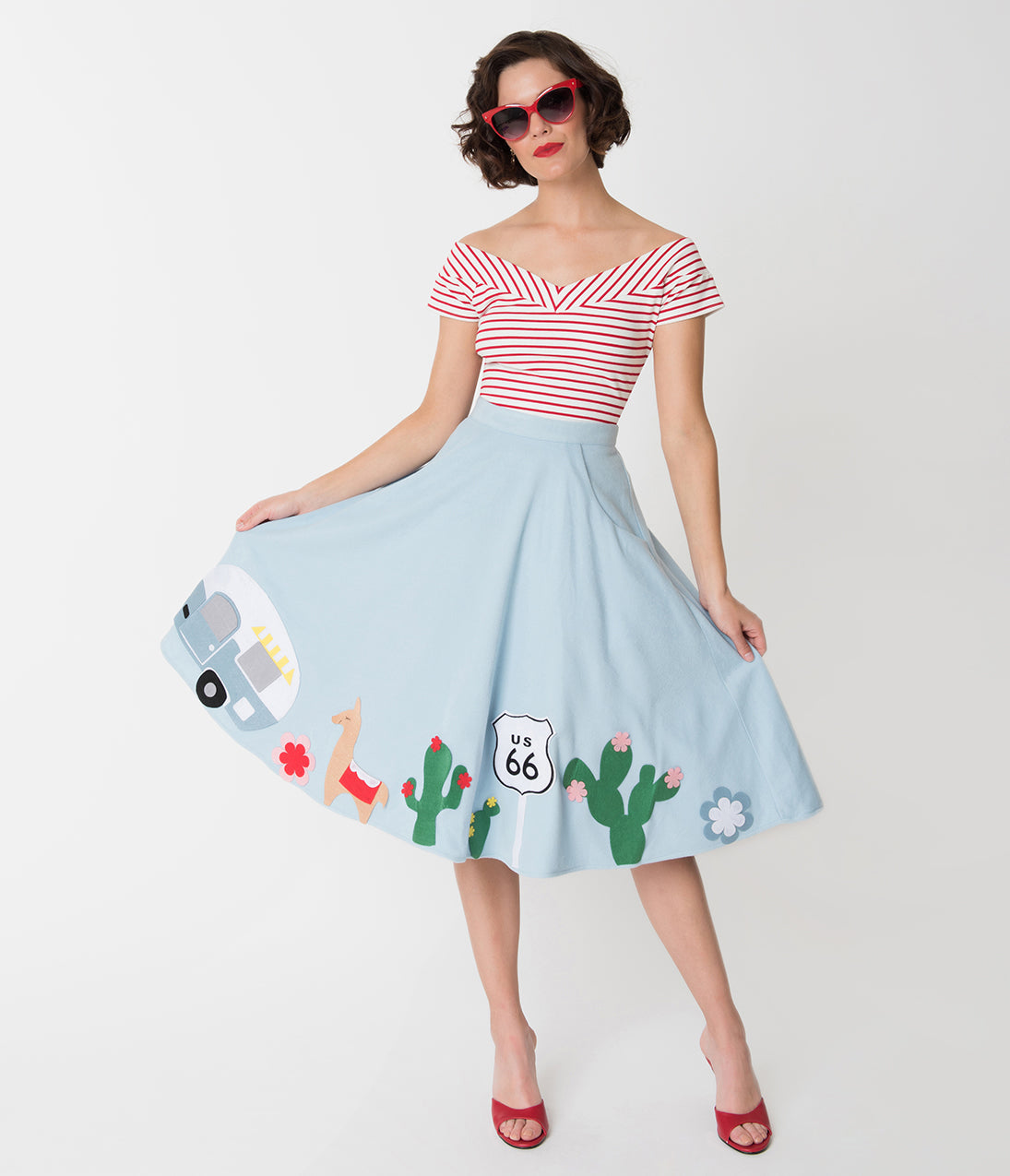 1950s Swing Skirt, Poodle Skirt, Pencil Skirts 1950 Route 66 Soda Shop Swing Skirt $88.00 AT vintagedancer.com