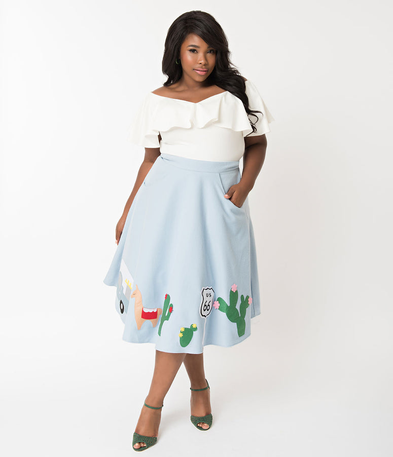 Unique Vintage 1950s Plus Size Light Blue Route 66 Soda Shop Swing Skirt