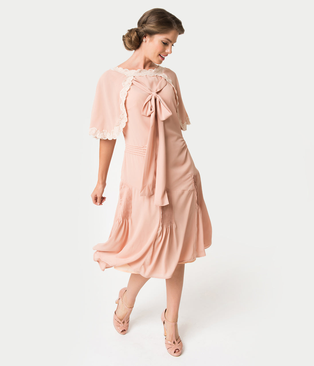 1920s Afternoon Dresses, Tea Dresses Unique Vintage 1930S Style Antique Rose Dewitt Day Flapper Dress $66.00 AT vintagedancer.com