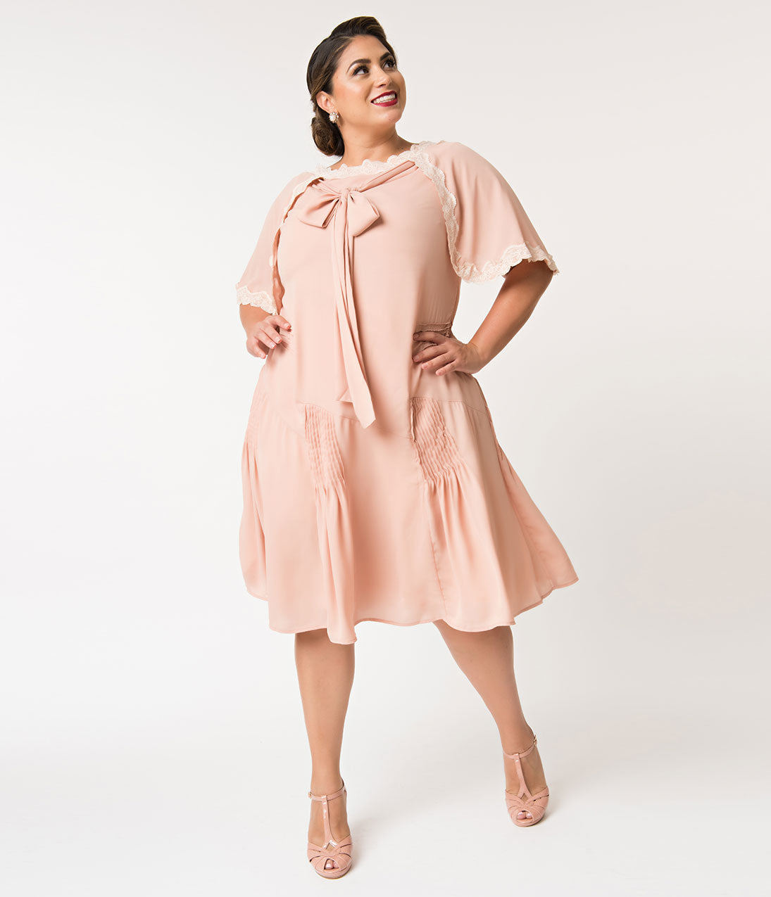 1930s Art Deco Plus Size Dresses | Tea Dresses, Party Dresses Unique Vintage Plus Size 1930S Style Antique Rose Dewitt Day Flapper Dress $110.00 AT vintagedancer.com