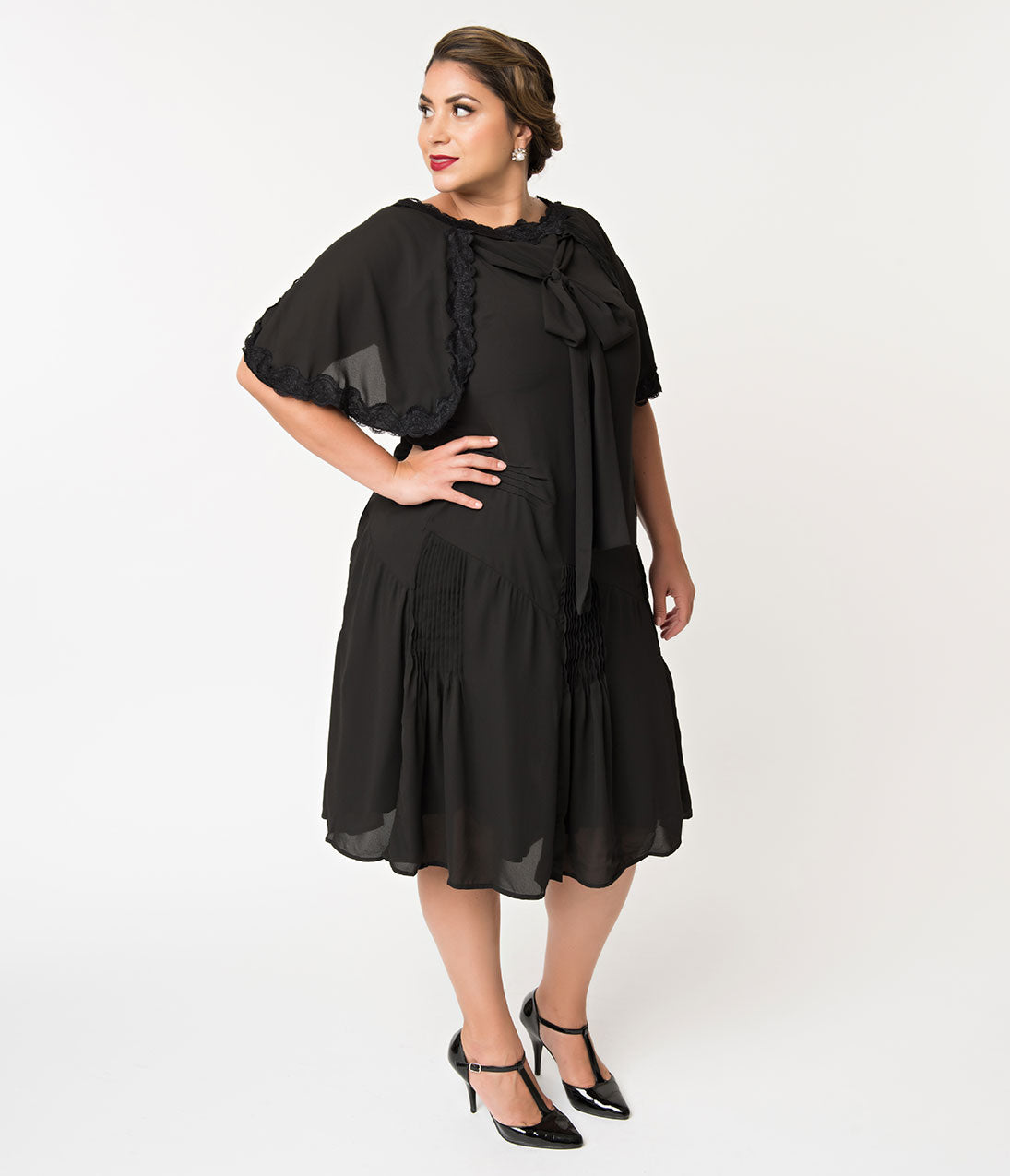 1930s Art Deco Plus Size Dresses | Tea Dresses, Party Dresses Unique Vintage Plus Size 1930S Style Black Dewitt Day Flapper Dress $110.00 AT vintagedancer.com