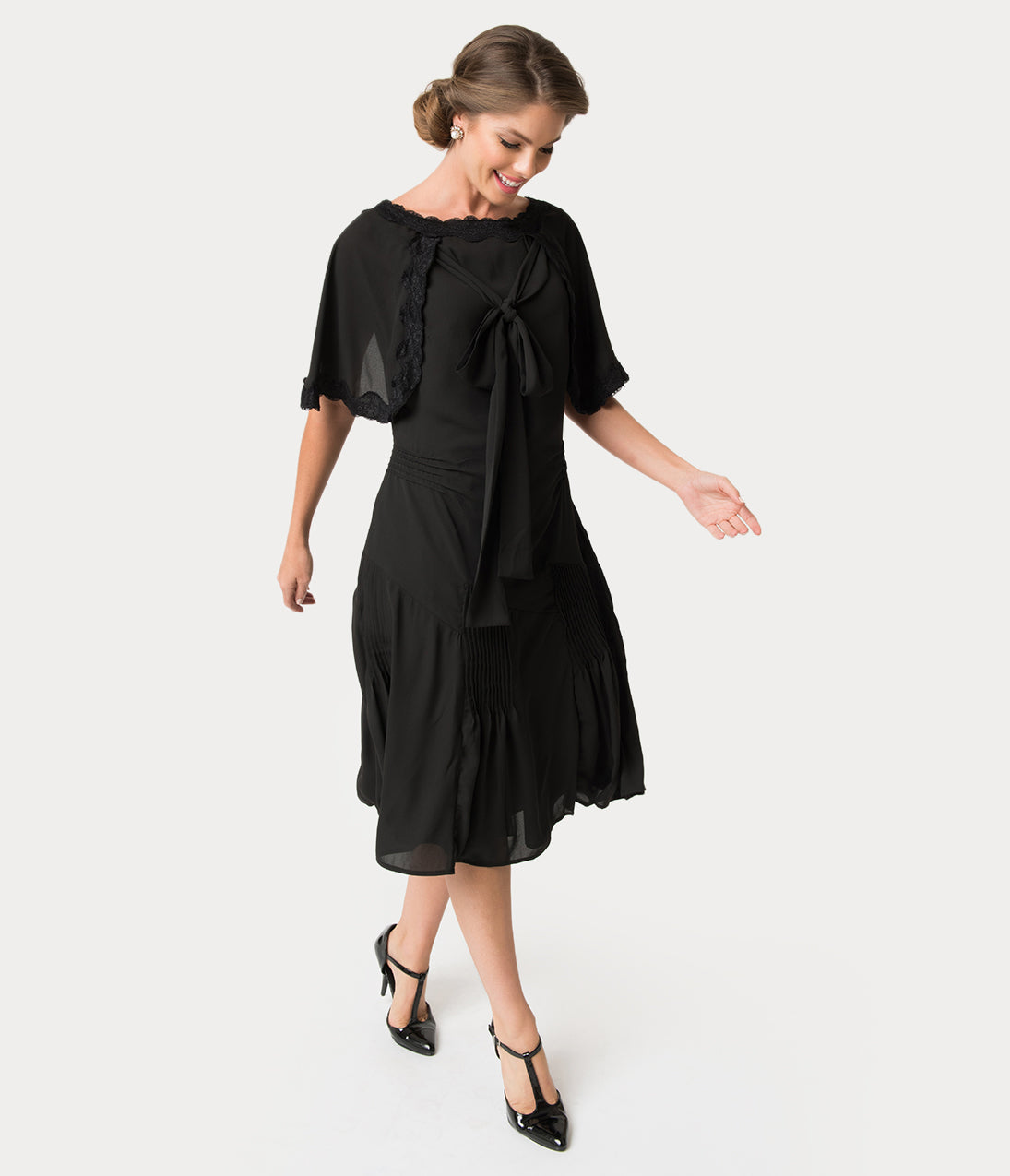 1930s Dresses | 30s Art Deco Dress Unique Vintage 1930S Style Black Dewitt Day Flapper Dress $40.00 AT vintagedancer.com