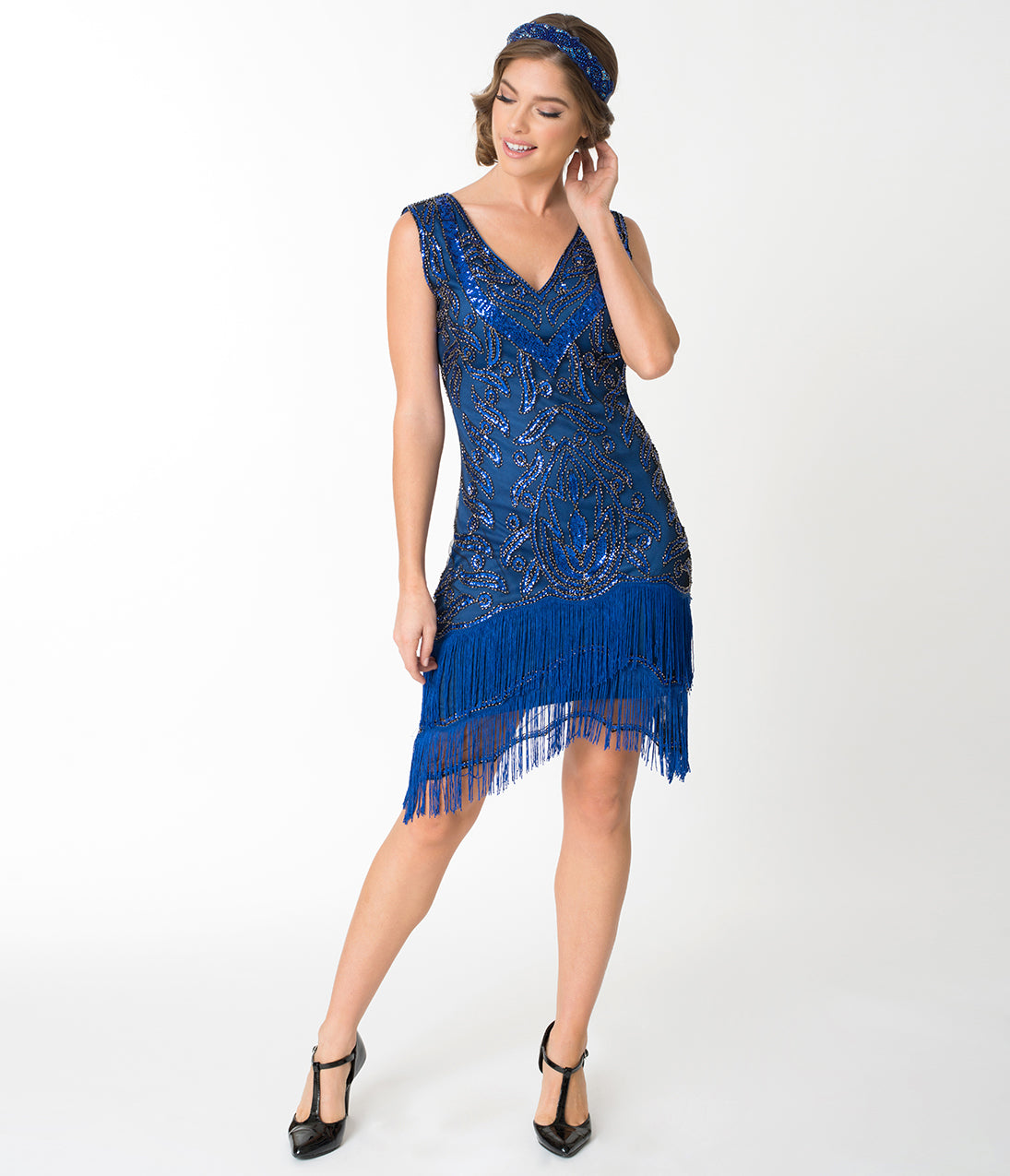 Roaring 20s Costumes- Flapper Costumes, Gangster Costumes Unique Vintage 1920S Style Royal Blue Beaded Zoe Cocktail Dress $98.00 AT vintagedancer.com