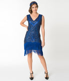 Unique Vintage 1920s Style Royal Blue Beaded Zoe Cocktail Dress
