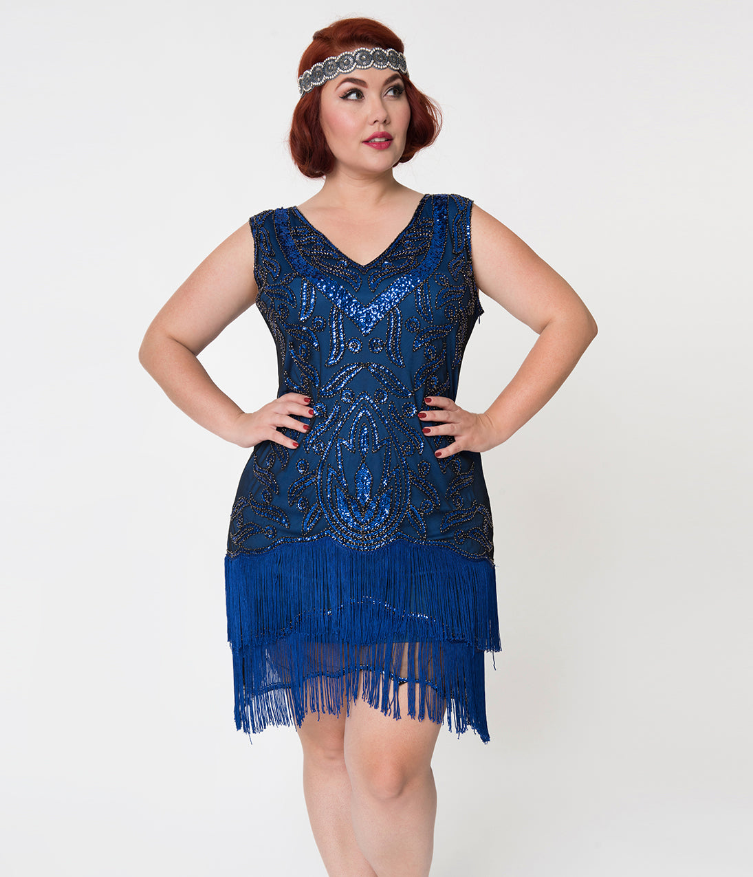 Roaring 20s Costumes- Flapper Costumes, Gangster Costumes Unique Vintage Plus Size 1920S Style Royal Blue Beaded Zoe Cocktail Dress $36.00 AT vintagedancer.com