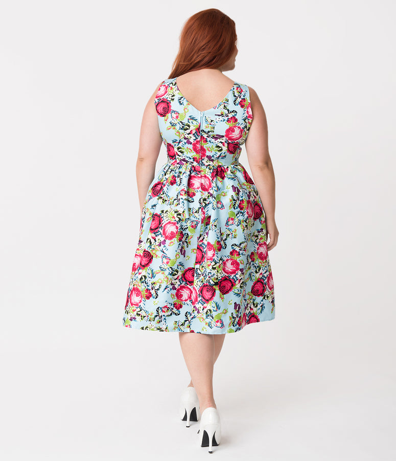 Unique Vintage Plus Size Light Blue & Floral Cross Stitch Print Sleeveless Shelly Swing Dress