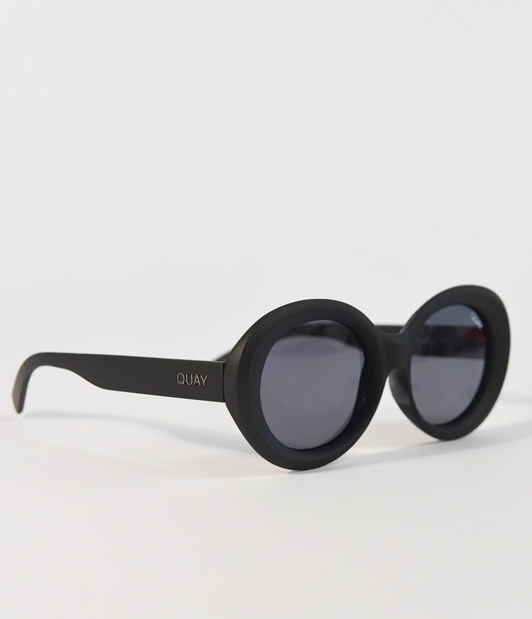 Quay Black & Smokey Mess Around Round Sunglasses