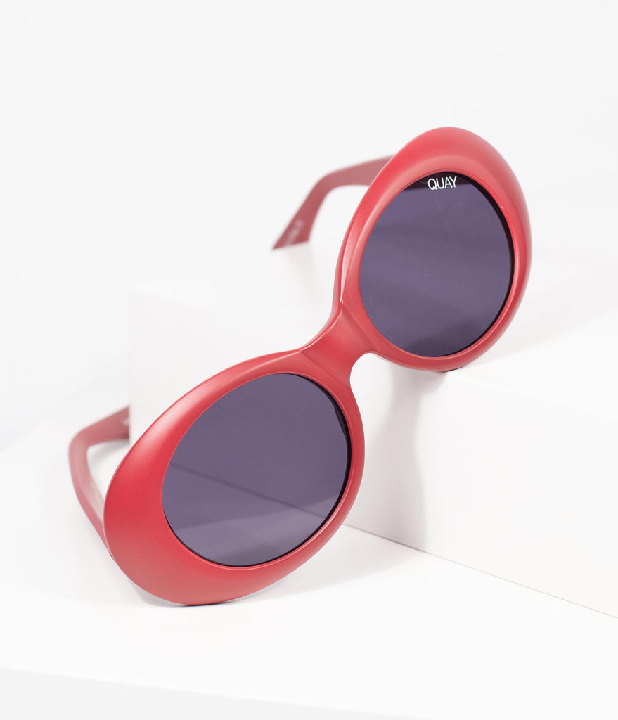 Quay Matte Red Cherry Frivolous Oval Sunglasses