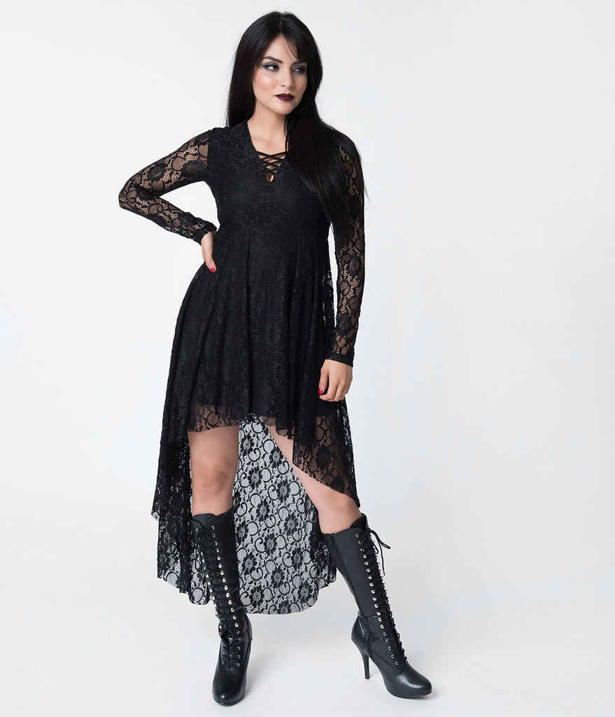Black Lace Long Sleeve High-Low Dress