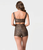 Pin-Up Style Leopard Print Button High Waist Sailor Swim Bottoms