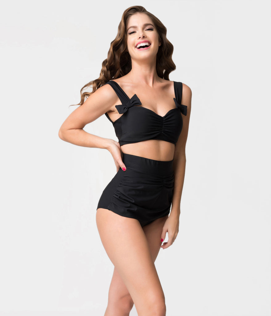 Retro Style Black Gathered High Waist Skirted Swim Bottoms