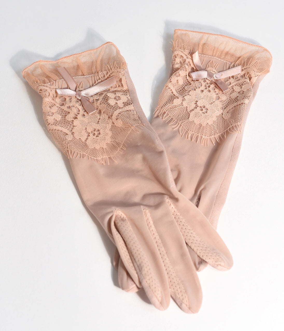 1930s Outfit Ideas for Women Dusty Pink Vintage Lace Sheer Wrist Gloves $18.00 AT vintagedancer.com