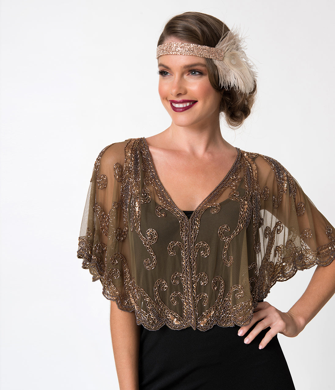 Shawls & Wraps | Fur Stole, Lace, Fringe 1920S Style Brown  Dusty Rose Gold Beaded Sheer Mesh Capelet $68.00 AT vintagedancer.com