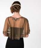 1920s Style Brown & Dusty Rose Gold Beaded Sheer Mesh Capelet