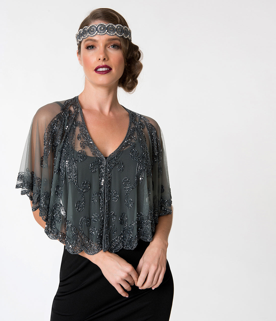Vintage Coats & Jackets | Retro Coats and Jackets 1920S Style Grey  Gun Metal Beaded Sheer Mesh Capelet $68.00 AT vintagedancer.com
