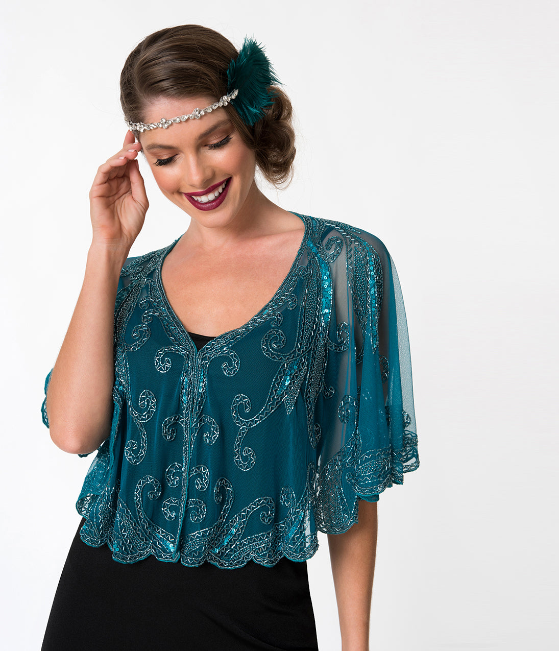 1920s Style Shawls, Wraps, Scarves 1920S Style Blue  Teal Beaded Sheer Mesh Capelet $68.00 AT vintagedancer.com