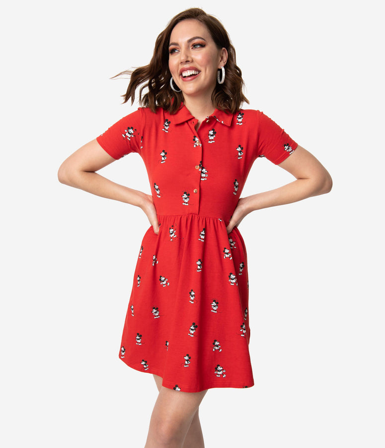 Cakeworthy Vintage Style Red Mickey Mouse Cotton Stretch Flare Dress