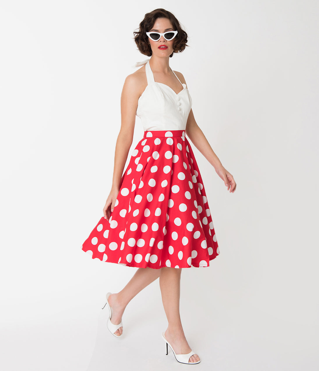 1950s Swing Skirt, Poodle Skirt, Pencil Skirts Vintage Style Red  White Polka Dot Cotton Circle Skirt $42.00 AT vintagedancer.com