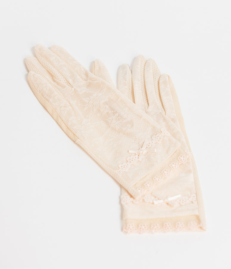 Unique Vintage Cream Mesh Lace Wrist Gloves