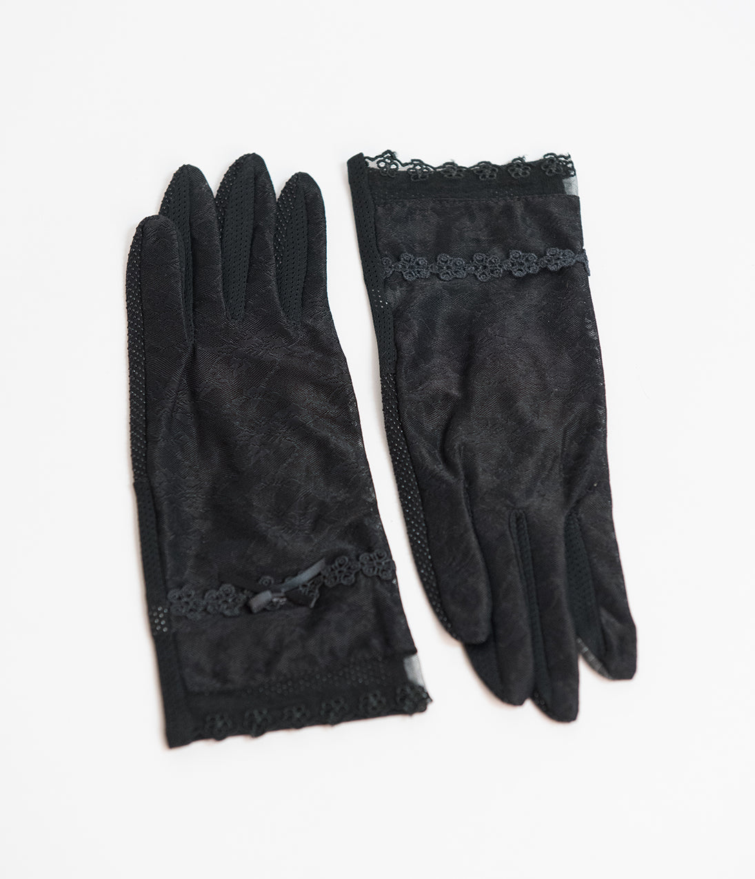 Vintage Style Gloves- Long, Wrist, Evening, Day, Leather, Lace Unique Vintage Black Mesh Lace Wrist Gloves $20.00 AT vintagedancer.com