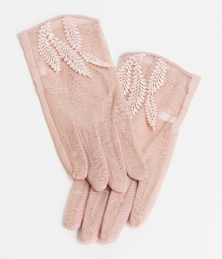 Unique Vintage Dusty Pink Mesh Floral Wrist Gloves