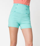 Retro Style Mint Green High Waist Stretch Sailor Shorts
