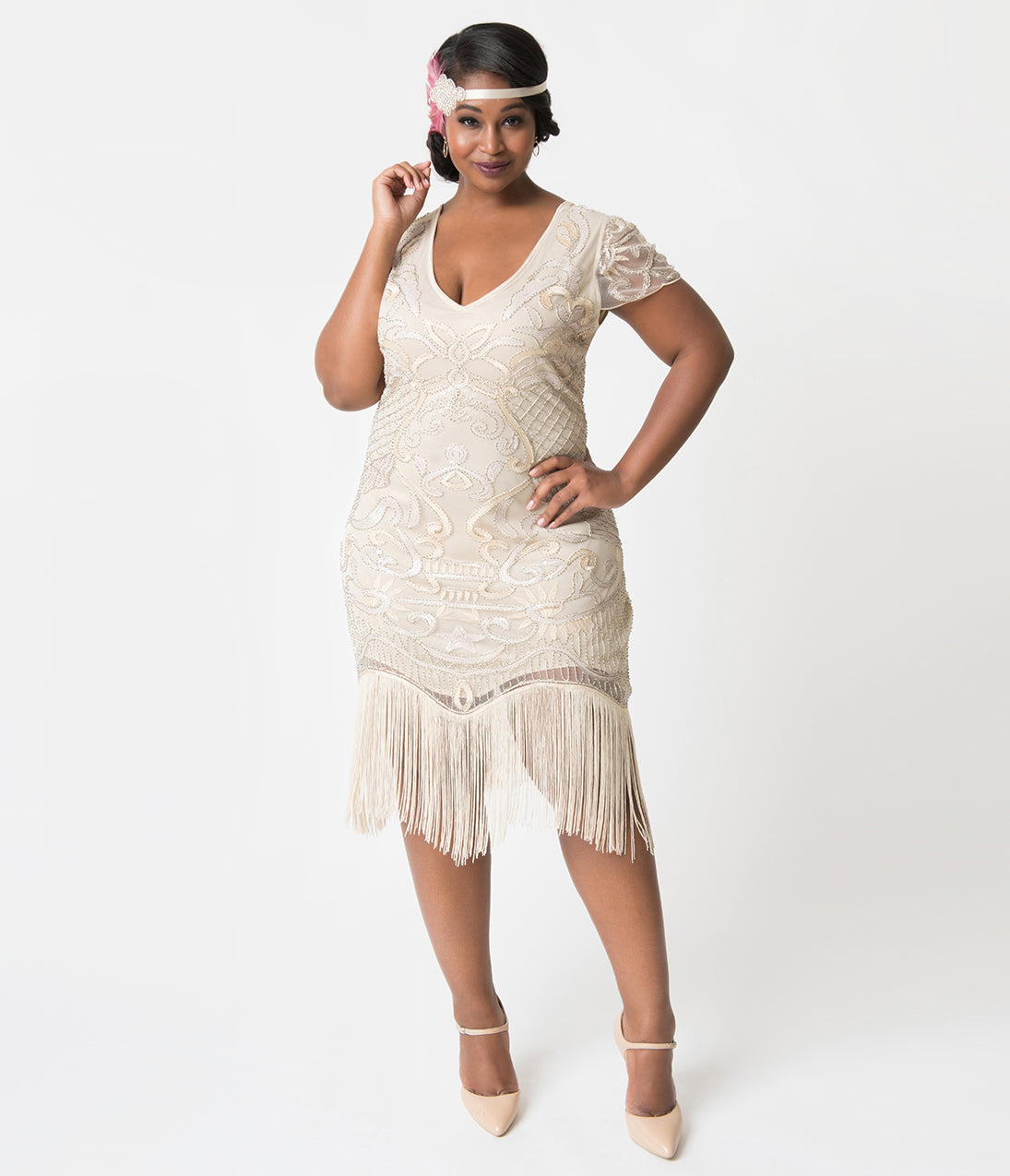 1920s Style Dresses, Flapper Dresses Unique Vintage Plus Size 1920S Style Champagne Beaded Fringe Aurore Flapper Dress $98.00 AT vintagedancer.com