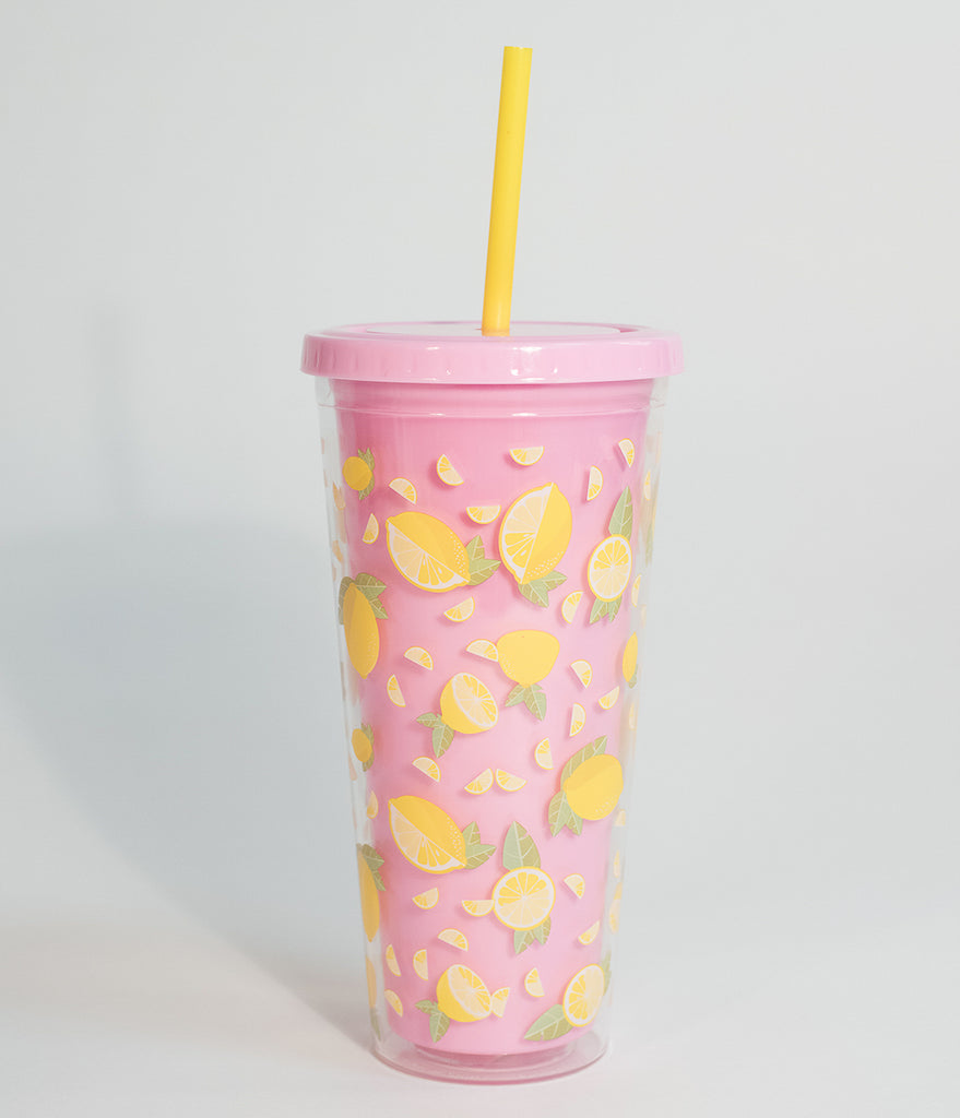 Pink & Clear Yellow Lemon Print Insulated Tumbler Cup