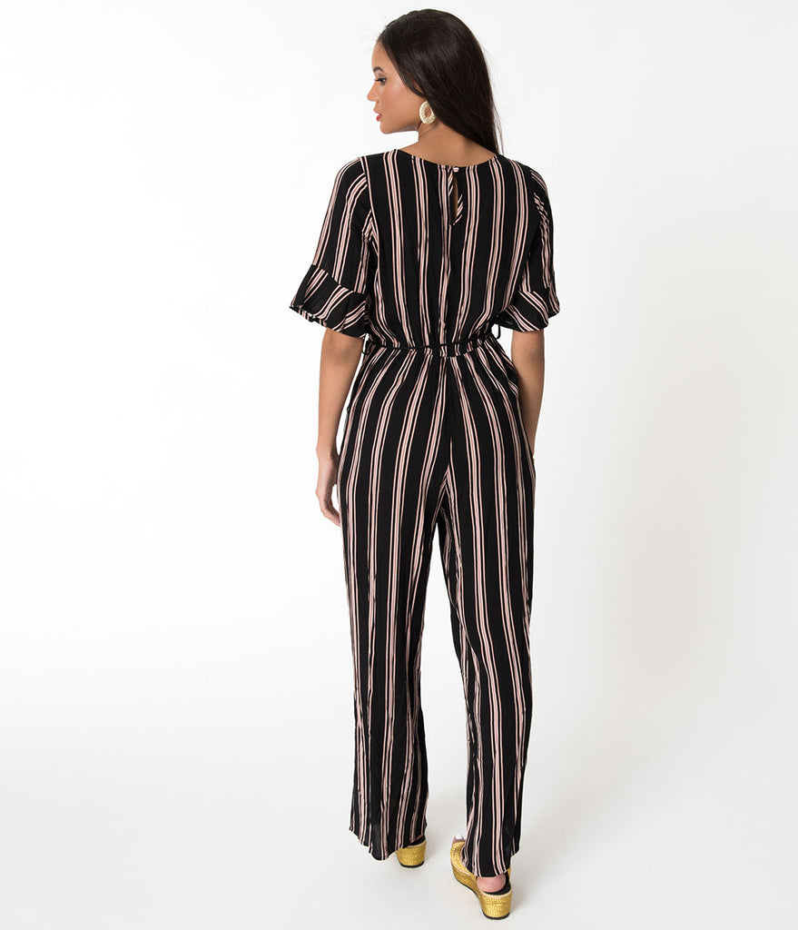 1970s Style Black & Copper Striped Bell Sleeved Jumpsuit