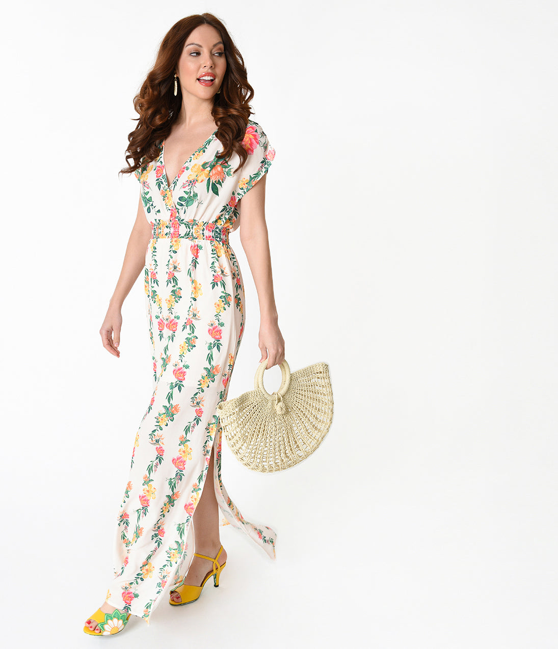 60s Style: How to Recreate the Outfits Cream  Multicolored Floral Print Crepe Short Sleeve Maxi Dress $58.00 AT vintagedancer.com