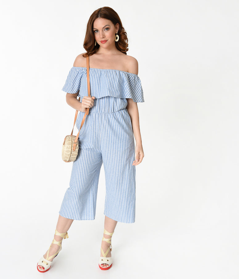 Retro Style Light Blue & White Striped Off The Shoulder Ruffle Top Jumpsuit