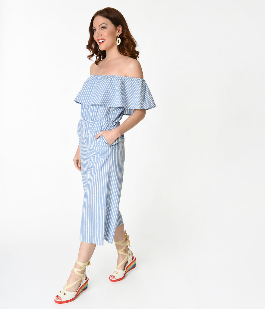 ede0aa983ca ... Retro Style Light Blue   White Striped Off The Shoulder Ruffle Top  Jumpsuit ...