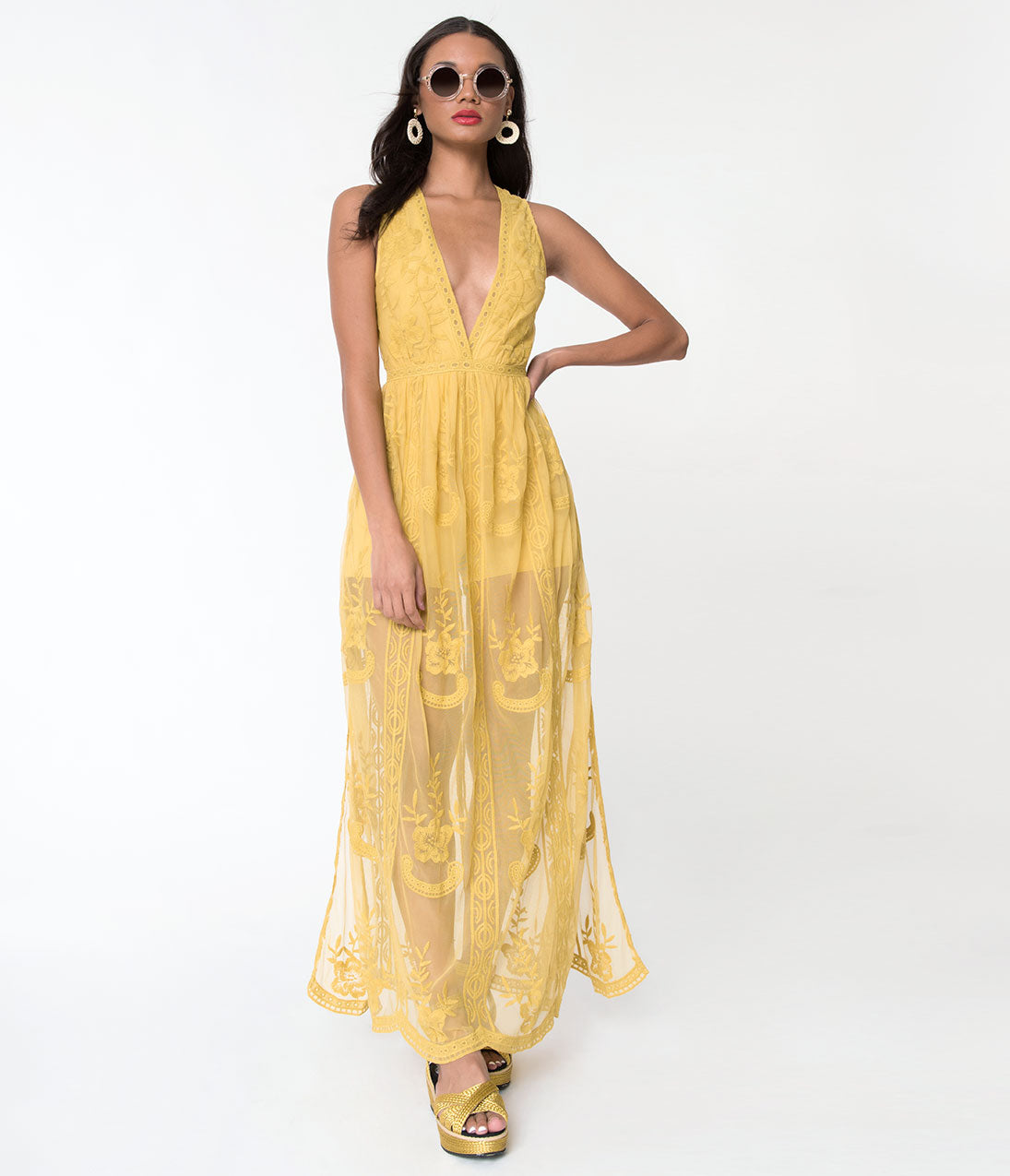 500 Vintage Style Dresses for Sale Retro Style Mustard Yellow Mesh  Lace Floral Sleeveless Maxi Dress $68.00 AT vintagedancer.com