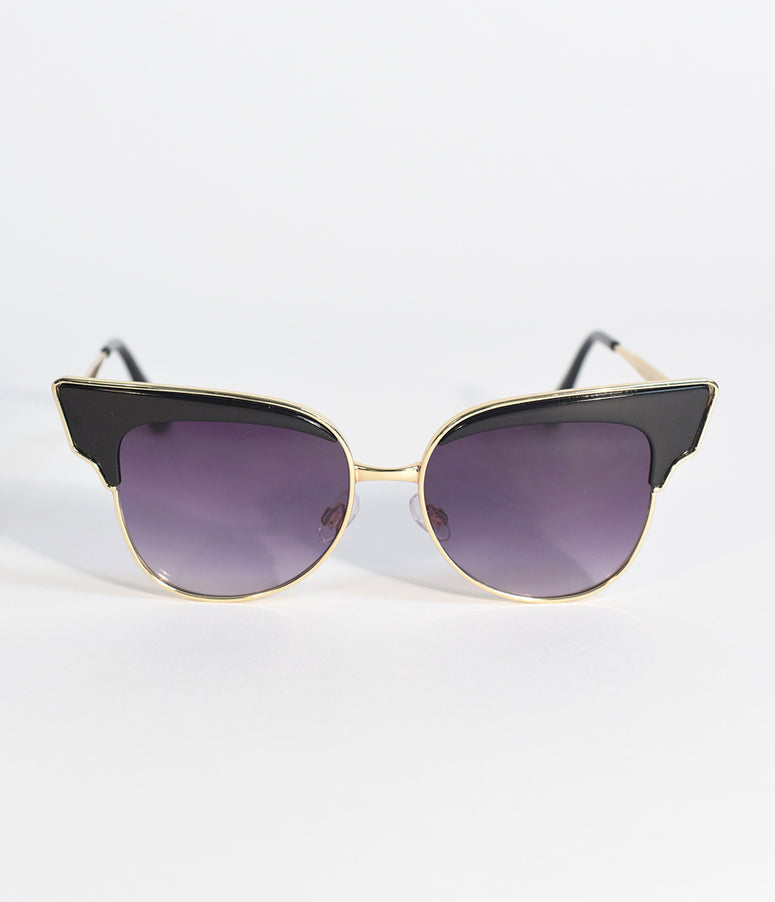 Black & Gold Aviator Betty Sunglasses