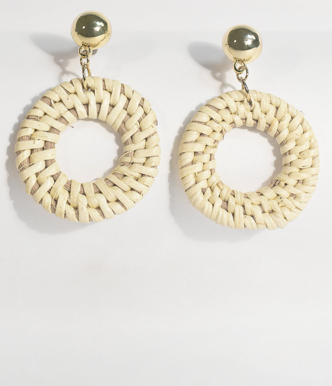 Vintage Style Jewelry, Retro Jewelry Ivory Woven Wicker Hoop Earrings $16.00 AT vintagedancer.com
