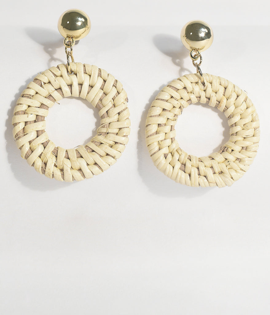 Ivory Woven Wicker Hoop Earrings