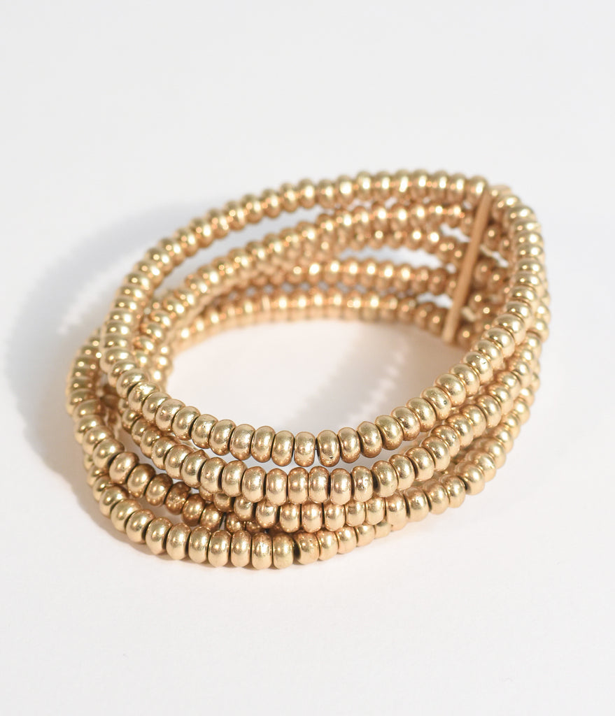 Golden Beaded Stretch Bracelet