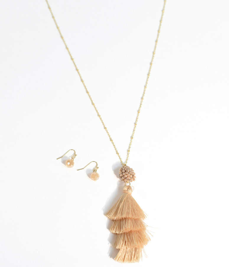 Champagne Tiered Tassel Necklace & Earring Set