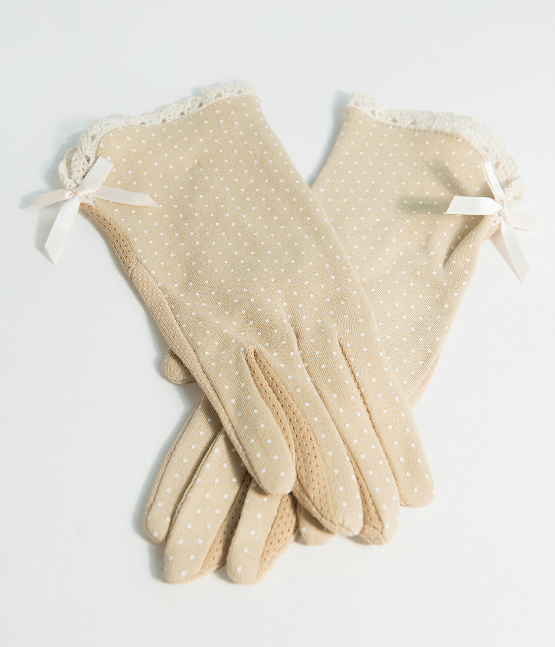 Vintage Style Gloves- Long, Wrist, Evening, Day, Leather, Lace Vintage Style Beige Polka Dot Summer Gloves $20.00 AT vintagedancer.com