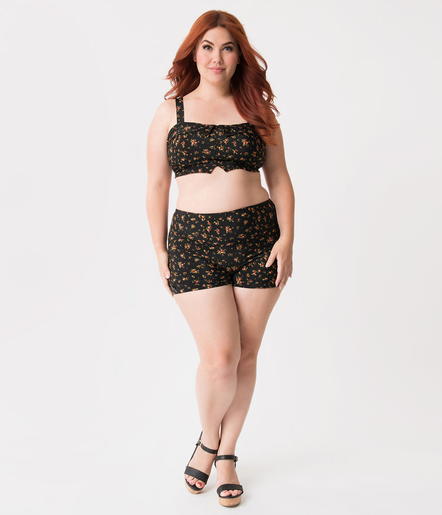 Girl Howdy Plus Size Exclusive Black Ditsy Floral Swim Crop Top