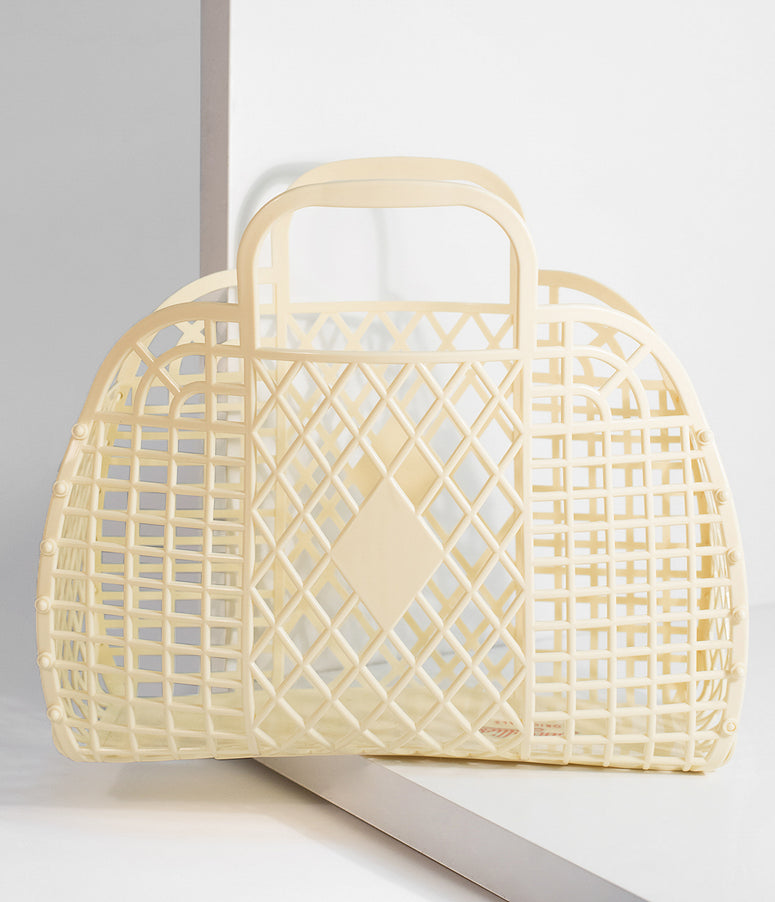 Yellow Retro Cutout Jelly Plastic Basket