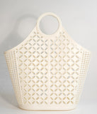 Retro Style Cream Woven Atomic Star Pattern Large Jelly Tote