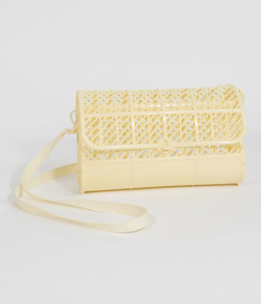 Light Yellow Retro Cutout Jelly Plastic Purse