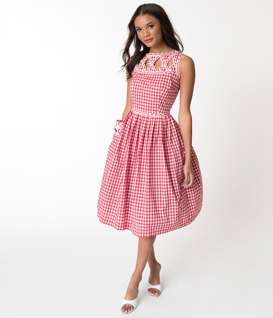 Unique Vintage 1940s Style Red Gingham Picnic Weave Lakewood Dress